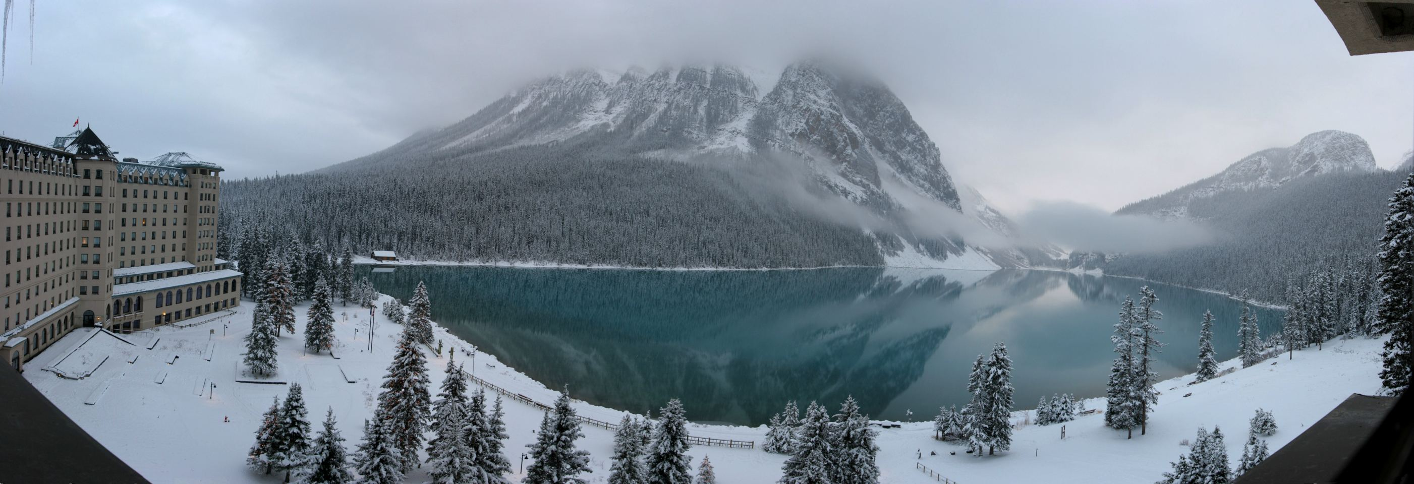 Lake Louise In Winter From Chateau