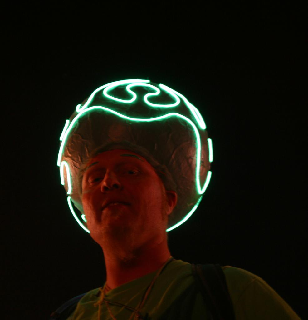 An elwire helmet suggesting the curves of the brain (Brad\'s Photos)