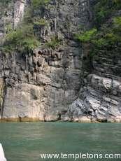 Sheer cliffs at side of gorge